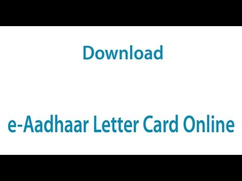 Download Your e-Aadhaar Letter Card from UIDAI