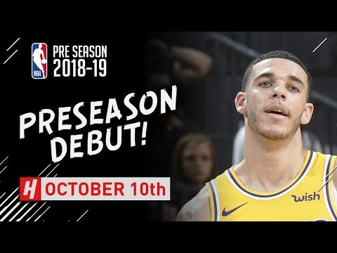 Lonzo Ball PRESEASON DEBUT Highlights Warriors vs Lakers - 2018.10.10 - 7 Pts, 4 Reb, 2 Ast!