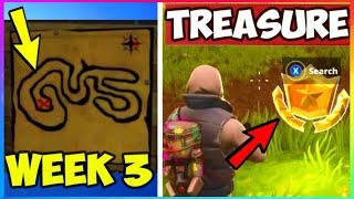 *WEEK 3* Treasure Map & Battle Star LOCATION For FREE TIER! (Fortnite Battle Royale Week 3 Season 4)