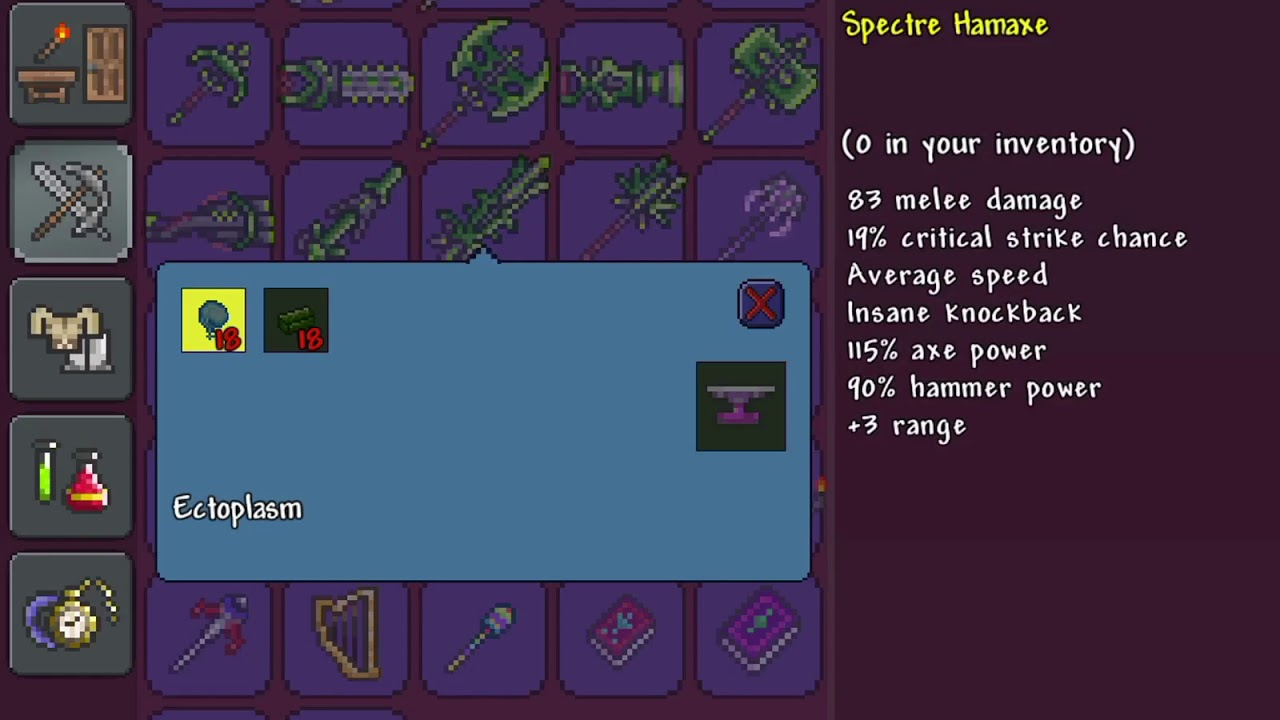 Terraria- Holy arrow and spectre hamaxe recipe