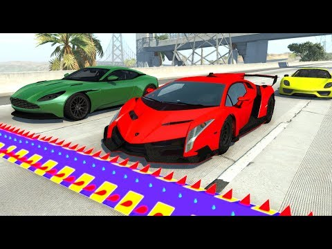 Spike Strip High Speed Testing #31 - BeamNG Drive (Beamng luxury super and hyper car crashes)