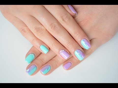 Mint and lavender shiny ombre nails