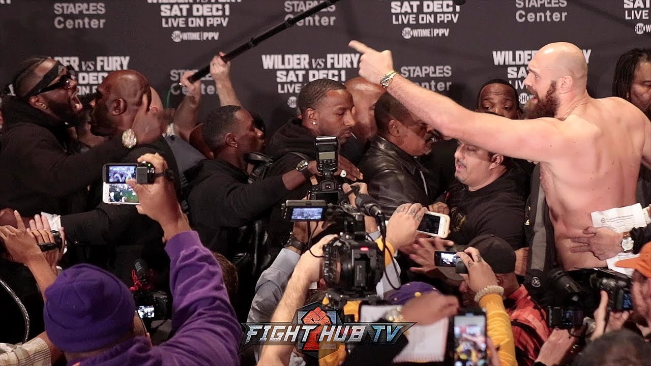 DEONTAY WILDER & TYSON FURY ALMOST FIGHT ONSTAGE DURING FINAL PRESS CONFERENCE FACE OFF!