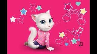 Красивый наряд говорящей кошки Анджелы. Наряжаем кошку , моем , кормим Анджелу в игре talking angela