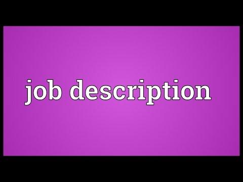 Job description Meaning