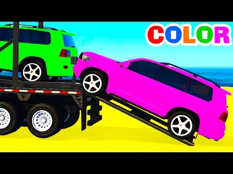 Thumbnail: COLOR OFFROAD CARS Transportation & Spiderman Cartoon for Kids w Colors for Children Nursery Rhymes