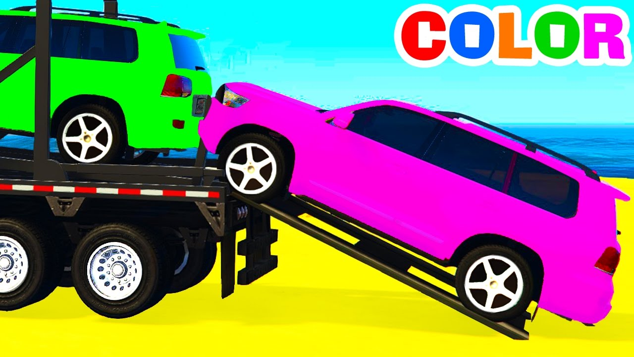 Colour cars rhymes - Color Offroad Cars Transportation Spiderman Cartoon For Kids W Colors For Children Nursery Rhymes