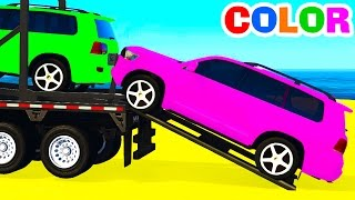 COLOR OFFROAD CARS Transportation & Spiderman Cartoon For Kids W Colors For Children Nursery Rhymes