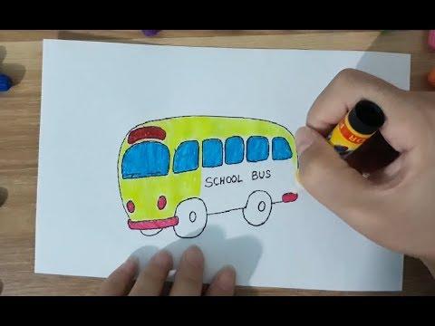 Đồ Chơi Trẻ Em – Tô Màu Tranh Vẽ Xe Buýt Trường Học – Colored painting bus toys, SuSu TV.