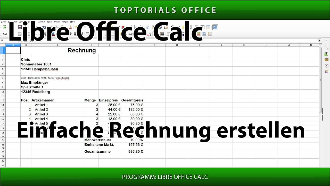Einfache Rechnung Erstellen Mit Und Ohne Mwst Libreoffice Calc