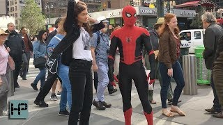 tom holland and zendaya filming stunt scene for spider man far from home in nyc