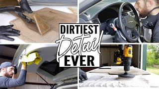Cleaning The Dirtiest Pacifica Car Interior Ever! Complete Disaster Full Interior Car Detailing