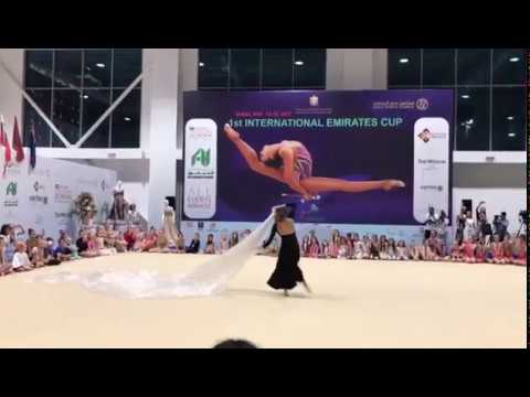 Rio 2016 Olympic Champion Margarita Mamun performs at the Emirates Cup in Dubai