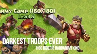 [Clash of Clans] UNLOCKED THE DARK BEASTS! (Barbarian King & Hog Rider Gameplay)