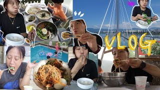 여행 먹방브이로그) 삽겹살/곰표맥주.항정살.해물파전.비…