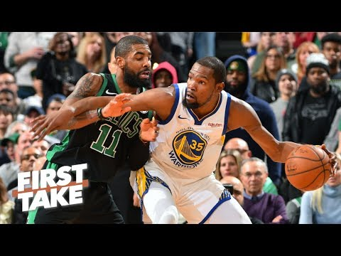 Is Kevin Durant delusional about Kyrie Irving, Celtics being 'fine' for NBA playoffs? | First Take thumbnail