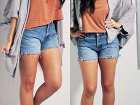 DIY Cut Off Denim Shorts - YouTube