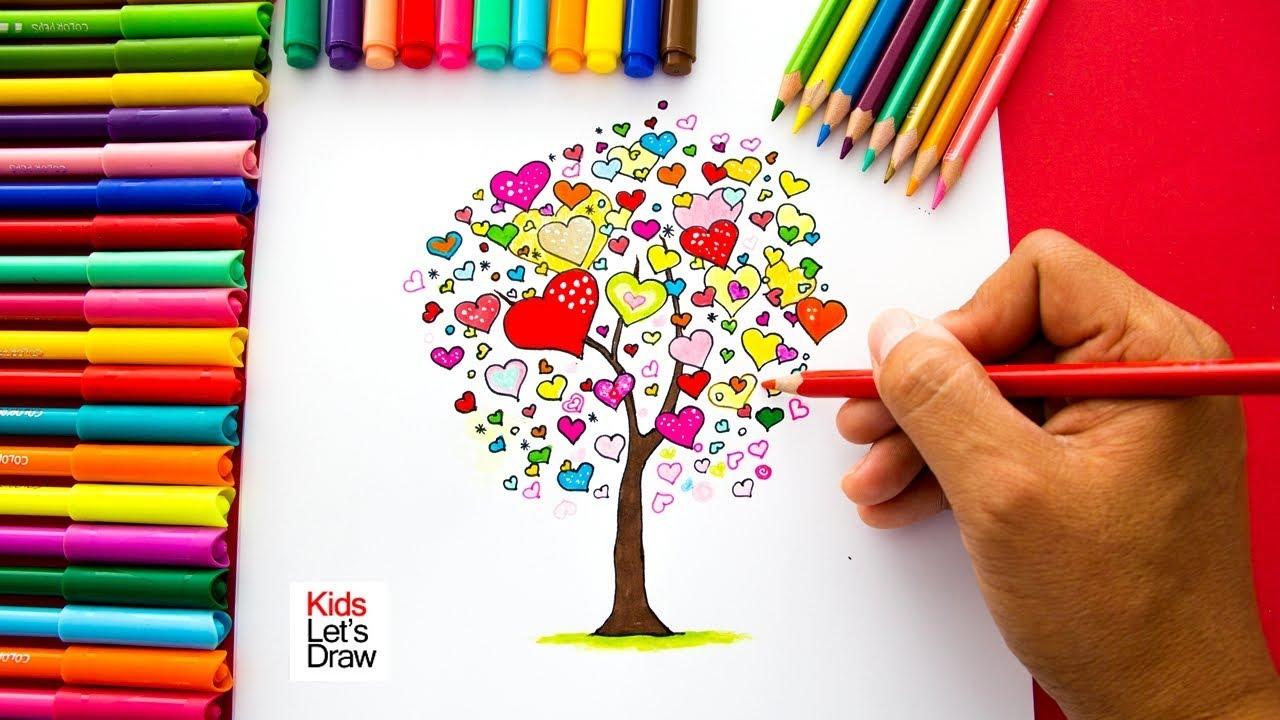 Cómo dibujar un Árbol de Corazones (San Valentín) super fácil   How ...
