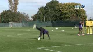 Scorpion kick! mario balotelli - inside training at manchester city