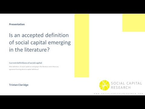 Social capital - is there an accepted definition in 2020?