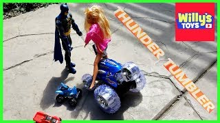 Thunder Tumbler Remote Control Car vs. Barbie and Batman - Willy