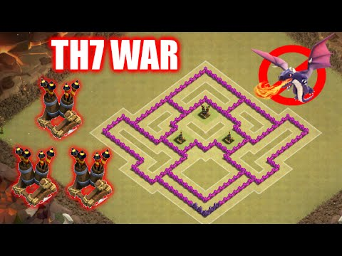 New TownHall7 War Base with 3 Air Defenses | Best TH7 Anti-Dragons Anti-3 Star