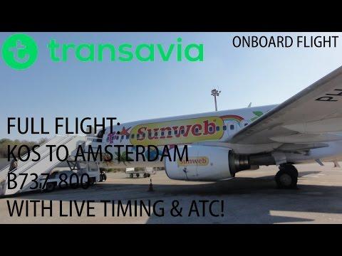✈ Transavia | FULL FLIGHT | Kos to Amsterdam | PH-HSD | B737-800 | With ATC & Time