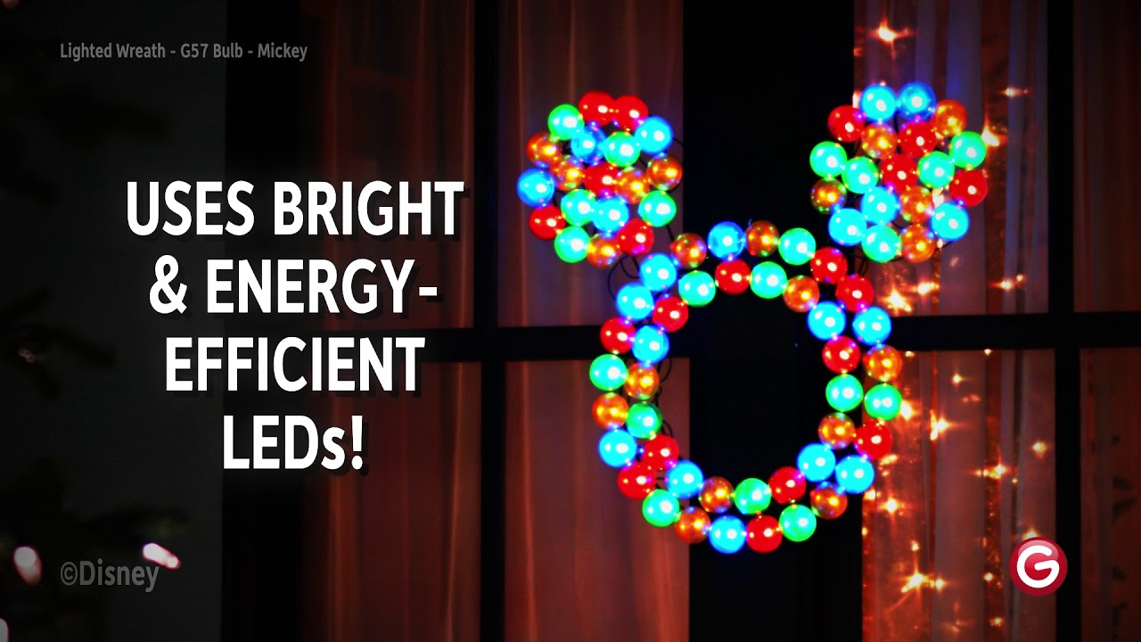 mickey mouse led lighted wreath youtube