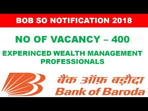 Bank of Baroda (BOB) Specialist Officer Notification Out for 400 Post