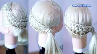 Причёска в школу на 1 сентября  Коса из кос Причёски пошагово Hairstyle tutorial Peinado con trenzas