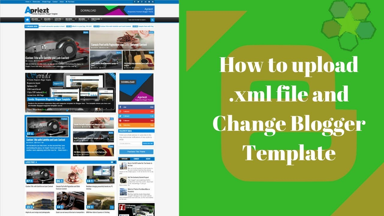 How to upload .xml file and Change Blogger Template - YouTube