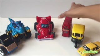 Playtime with colorful toy cars, london bus, nyc and india taxi, monster car!