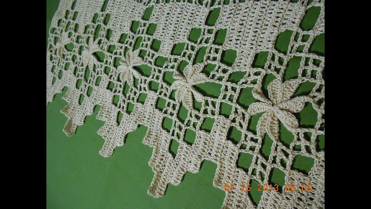 Crochet orilla en picos con flor 3 de 4  YouTube