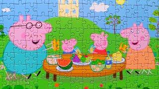 Свинка Пеппа - Семейный завтрак на природе - Собираем пазлы для детей Peppa Pig   Merry Nika