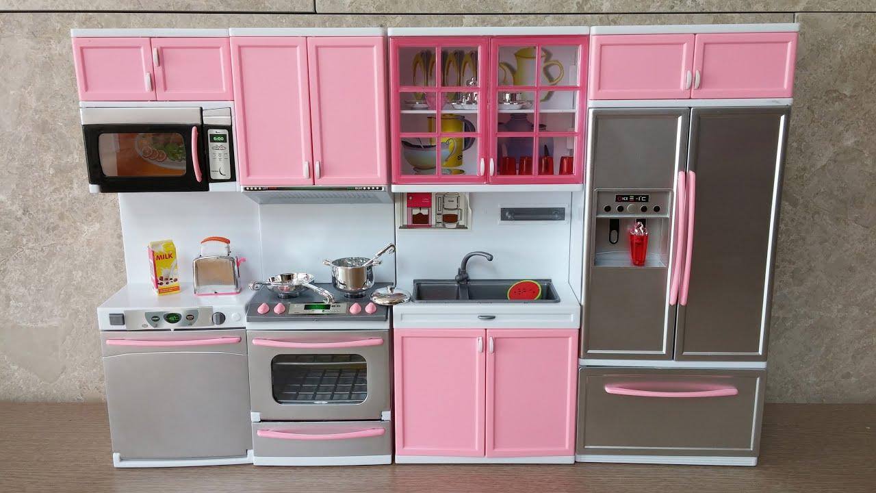 Unboxing new barbie kitchen set deluxe modern toy kit for Kitchen set aluminium modern