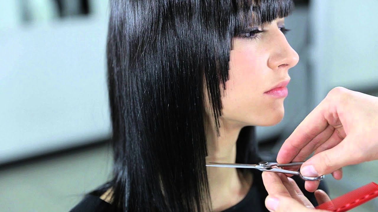 Line Haircut Technique Medium Length Youtube
