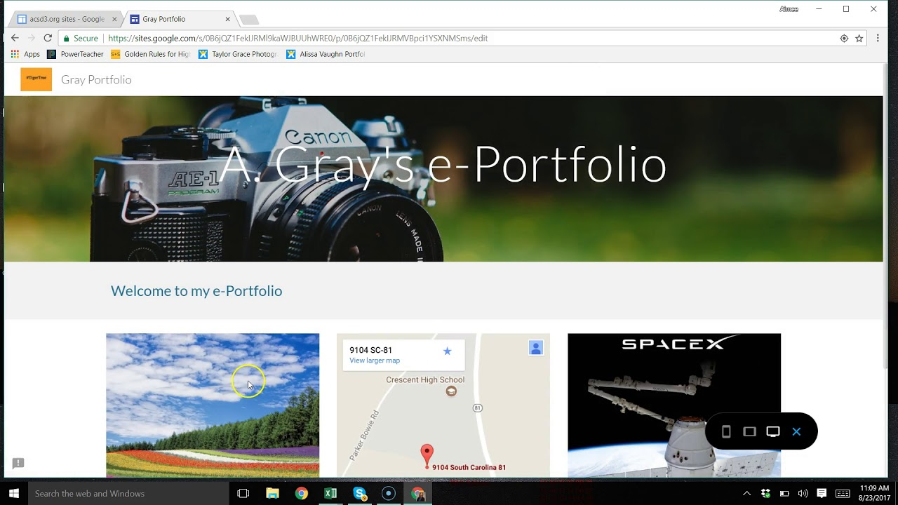creating an e portfolio in google sites