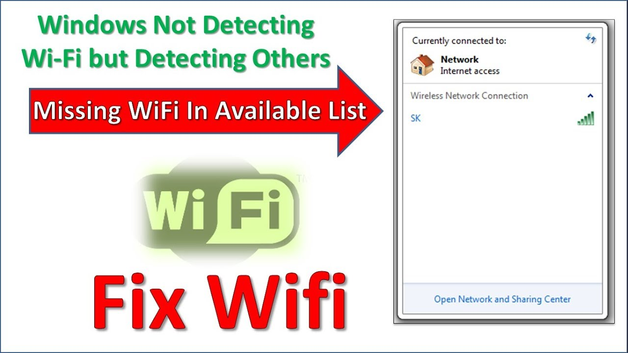 Laptop Cannot Detect Wifi But Detect Others Wifi In Search List Youtube