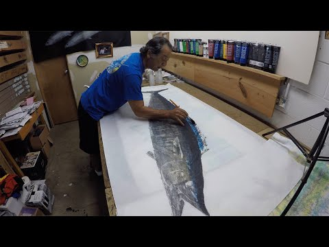 Printing, Cleaning, And Eating 50lb Ono - Gyotaku By Naoki