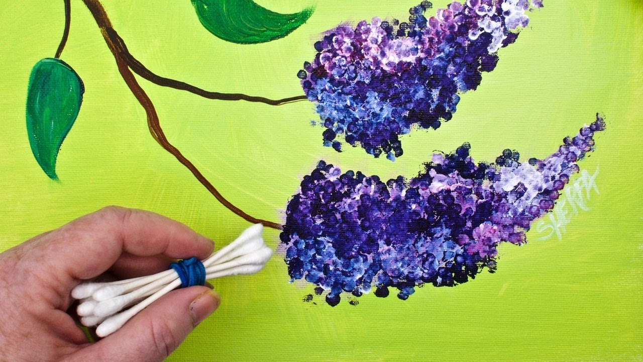Lilacs cotton swabs painting technique for beginners easy for Tips for using acrylic paint