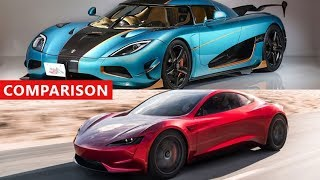 Tesla Roadster vs Koenigsegg Agera RS Comparison - Fastest Cars In The World !