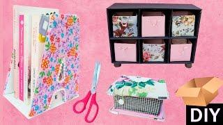 DIY - 3 ideias de organizadores para casa feitos com PAPELÃO!