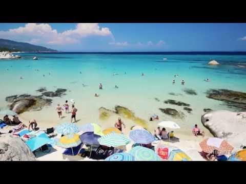 Famous Orange beach near Sarti on Sithonia, Greece