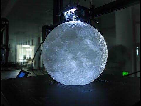 Beautiful PLA Moon Lamp Printed On Xinkebot Orca2 Cygnus