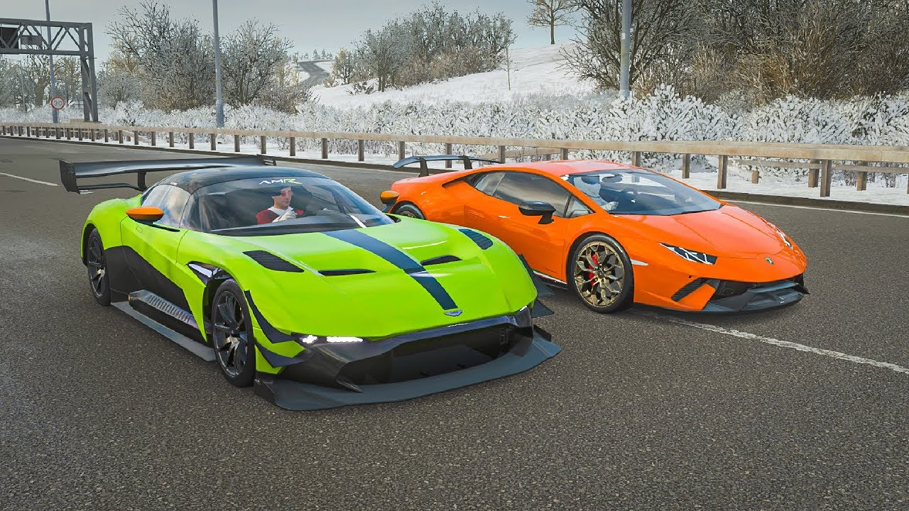 Fh4 Drag Race Aston Martin Vulcan Amr Pro Vs Lamborghini Huracan Performante Youtube