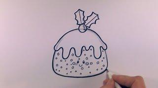 How to Draw a Cartoon Christmas Pudding