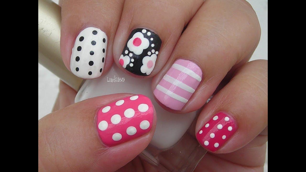 Nail Art - Girly Mix n Match - Facebook Challenge ...