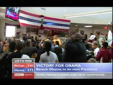 A MOMENT IN HISTORY - OBAMA PASSES 270 VOTES TO BECOME PRESIDENT ELECT - BBC COVERAGE