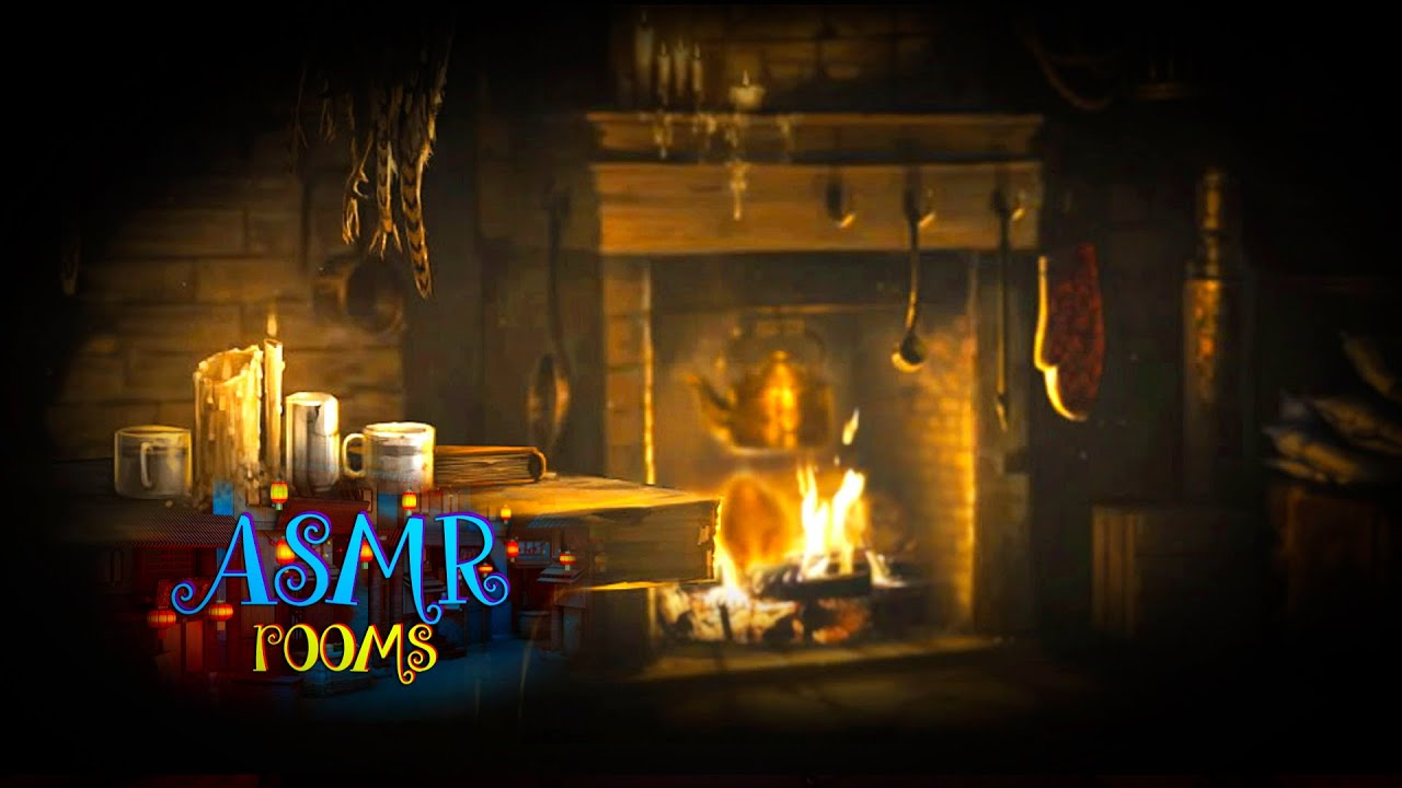 Hagrids Hut  Harry Potter Inspired ASMR  Ambience and Animations  rain fireplace page