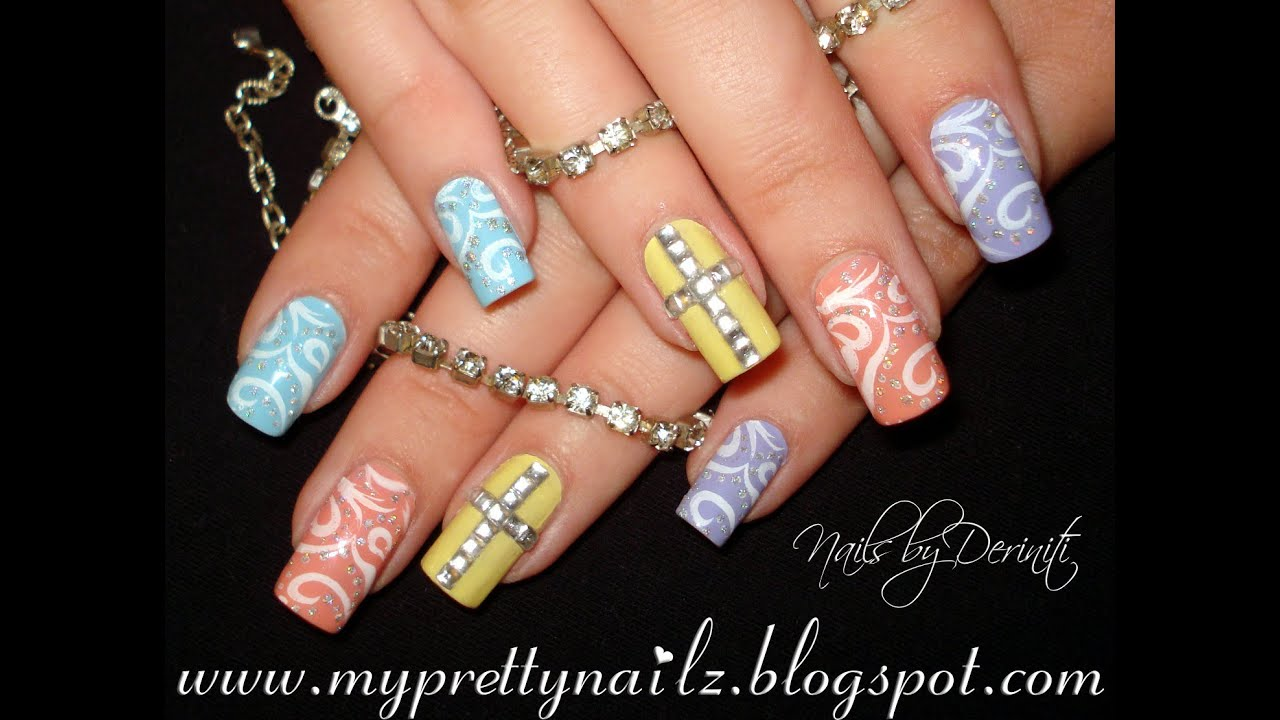 Easy easter pretty pastel nail art design with rhinestone cross easy easter pretty pastel nail art design with rhinestone cross tutorial prinsesfo Gallery